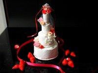 ウエルカムケーキ リングピウェディンググッズ リングピロー 食品サンプル中サイズ ウェディングケーキ ウエルカムボードプレゼント付 ピンク