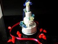 ウエルカムケーキウエルカムグッズ リングピロー 食品サンプル中サイズ ウェディングケーキ ウエルカムボードプレゼント付 青1